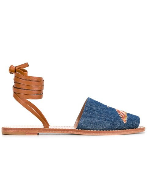 Hummingbirds Embroidered Denim Lace-Up Sandal in Blue