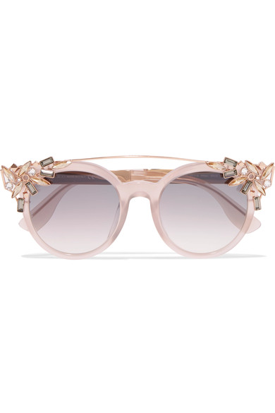 Vivy Embellished Round-Frame Acetate And Rose Gold-Tone Sunglasses in Blush