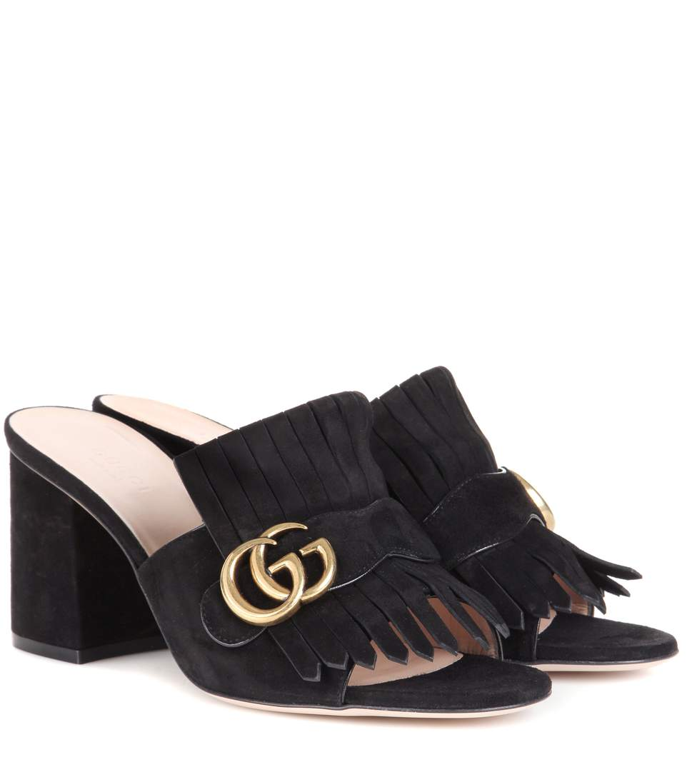 75Mm Marmont Gg Fringed Suede Mules, Black