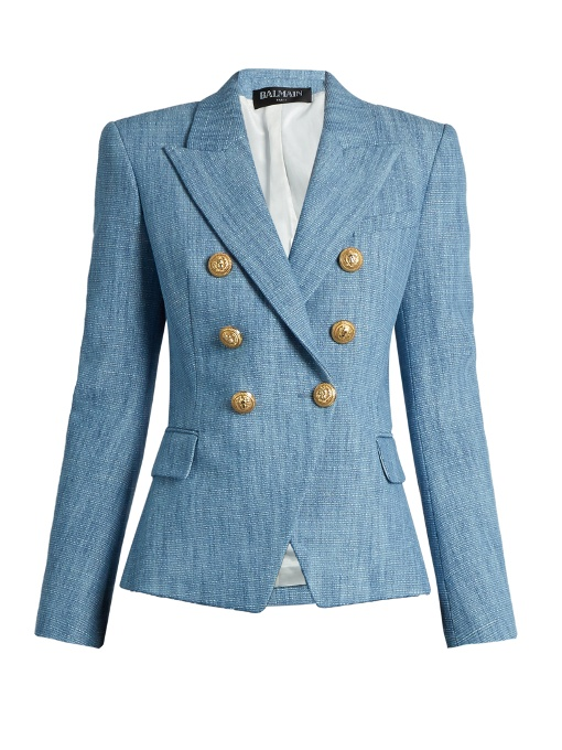 BALMAIN Double-Breasted Cotton-Blend Tweed Blazer in Colour: Sky-Blue