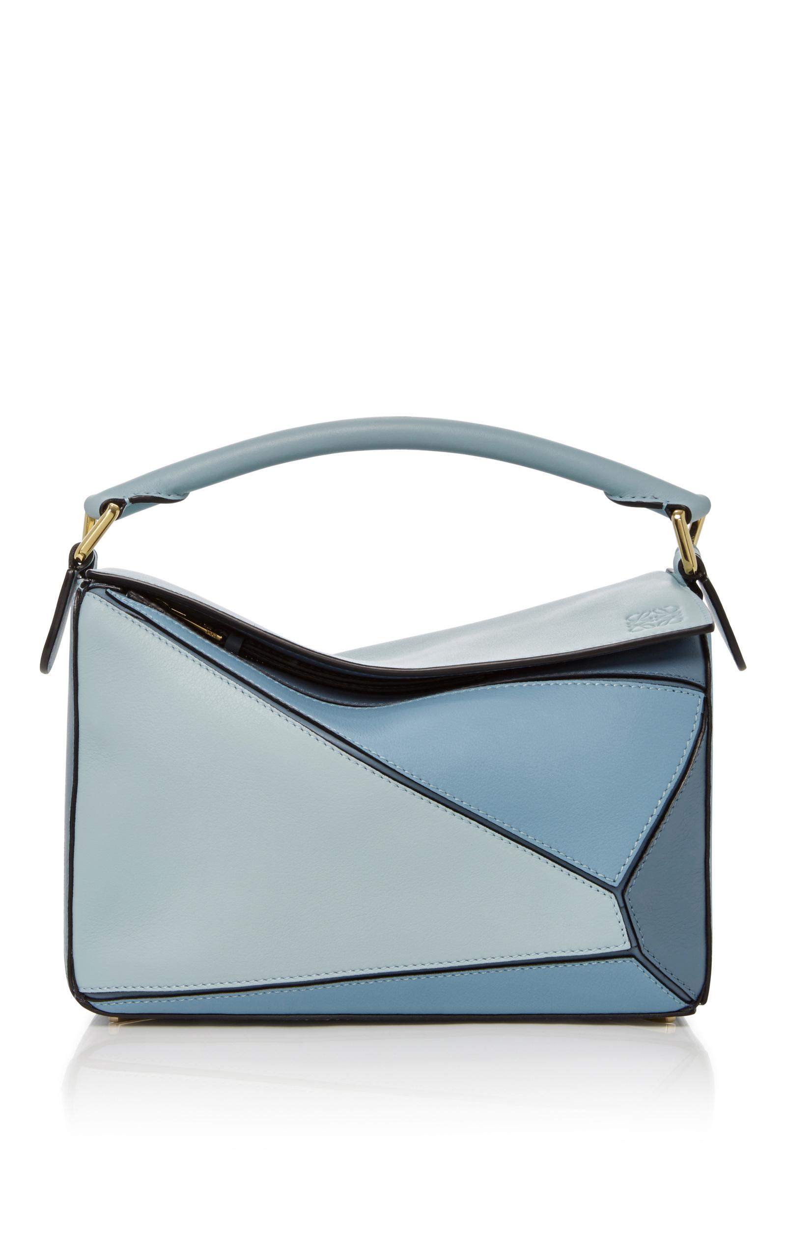 Mini Puzzle Calfskin Leather Crossbody Bag - Blue, Aqua / Light Blue / Stone Blue