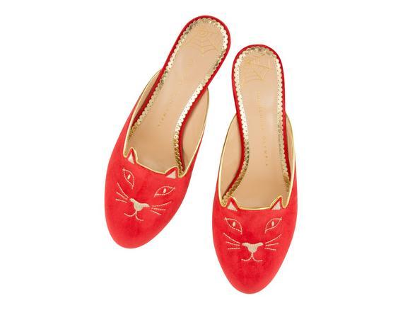 Kitty Velvet Slippers in Red