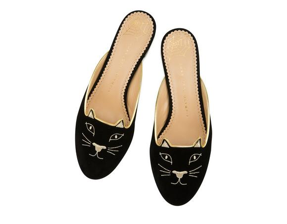 CHARLOTTE OLYMPIA Kitty Cat Face-Embroidered Velvet Backless Loafers, Black/Gold