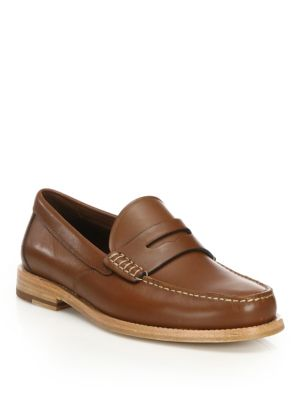 Coach Manhattan Leather Penny Loafers, Dark Saddle