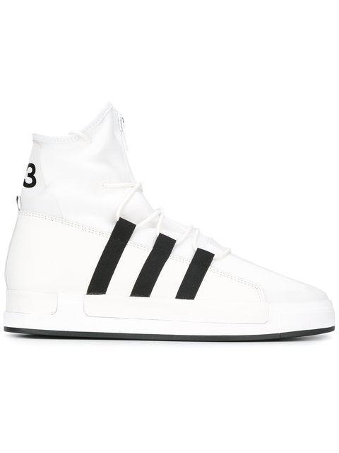 The Atta high-top leather and mesh sneakers Yohji Yamamoto VAlM4h9Fop