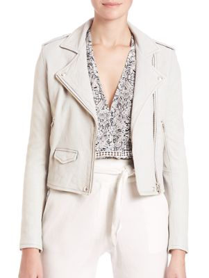 Asheville Leather Moto Jacket in Chalk