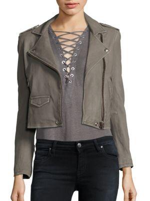 Asheville Leather Moto Jacket, Stone Grey