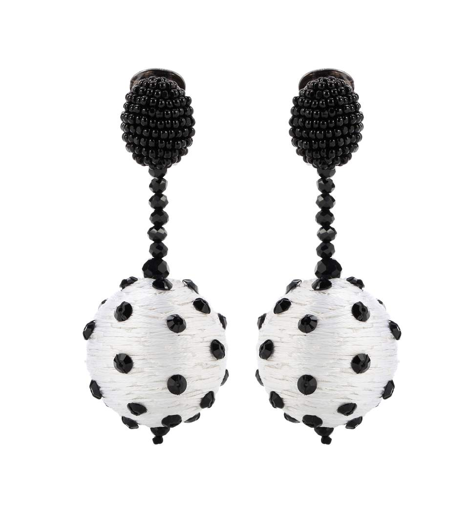 Oscar De La Renta Beaded Polka Dot Ball Drop Clip-On Earrings Ni8goh