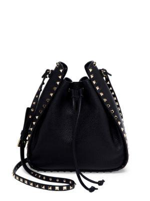 Large Rockstud Leather Bucket Bag - Black, Nero