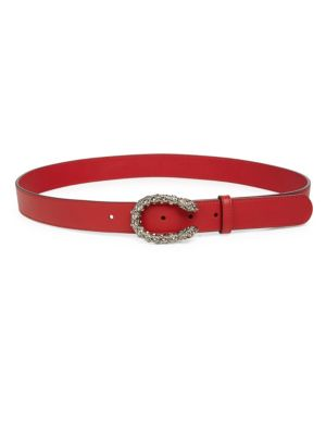 Leather Belt With Crystal Dionysus Buckle, Na