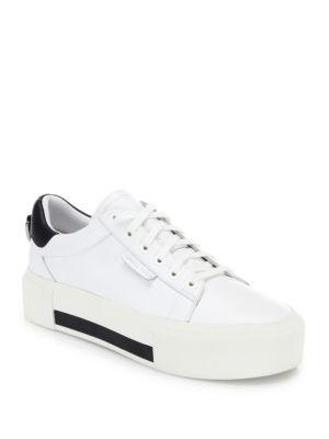 KENDALL + KYLIE Tyler Leather Platform Sneakers in White-Black