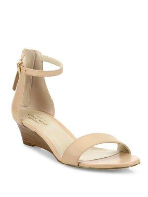 Adderly Grand Leather Low-Wedge Sandal, Neutral, Nude