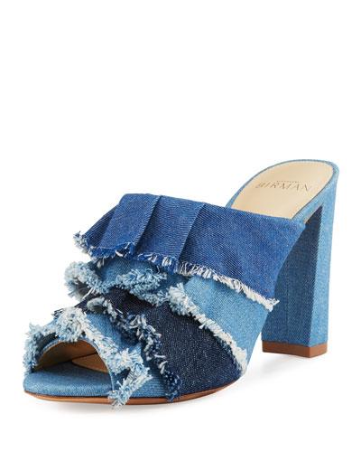 ALEXANDRE BIRMAN Mili 90Mm Ruffle-Denim Slide Sandal, Blue