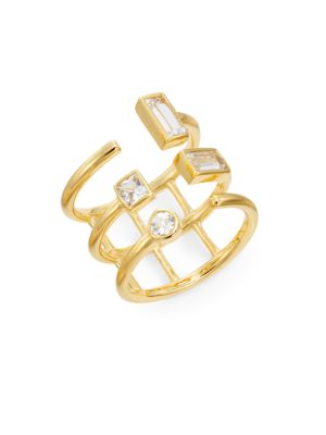 ELIZABETH AND JAMES Dia White Sapphire Triple Band Ring in Na
