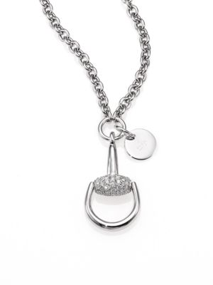 Versace PavÉ Diamond & 14K White Gold Infinity Disc Pendant Necklace, Na