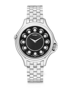 Fendi Crazy Carats Diamond, Multicolor Topaz & Stainless Steel Small Bracelet Watch/Black, Na