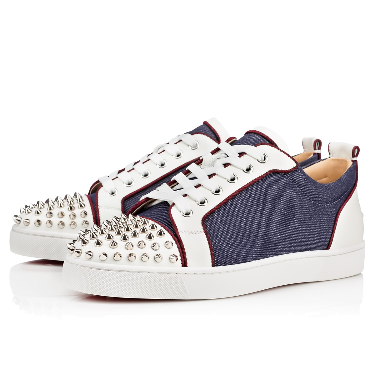 ad9d4357e173 CHRISTIAN LOUBOUTIN Louis Junior Spikes Orlato Men S Flat Version  Blue Silver Leather - Men Shoes