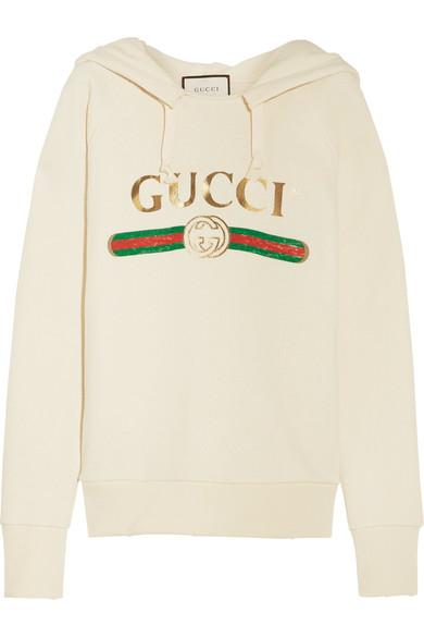 GUCCI Logo-Print Cotton-Jersey Hooded Sweatshirt, Vanilla-White