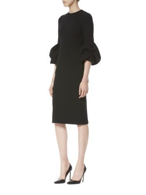 CAROLINA HERRERA Balloon Sleeve Crepe Midi Sheath Dress in Black