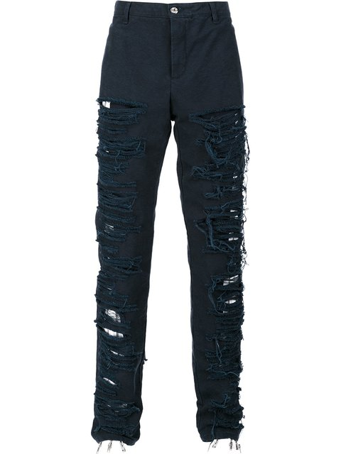 HOOD BY AIR Hood By Air Destroyed Effect Trousers - Blue