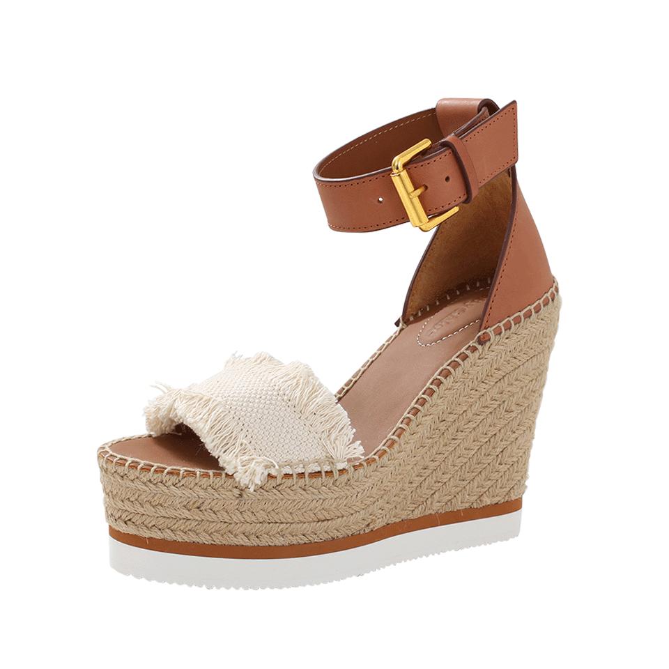 Glyn Leather & Frayed Canvas Espadrille Wedge Platform Sandals