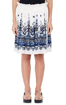 Tile-Print Layered Pleated Shorts - White/Blue Size 4 Jp