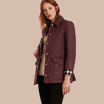 Burberry Check Detail Diamond Quilted Jacket Burgundy Modesens