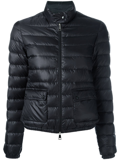 Zipped Fitted Padded Jacket in Black