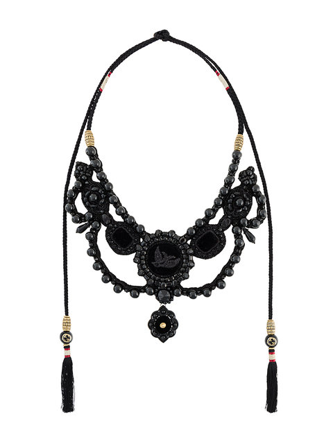 Gucci Velvet Necklace With Crystals And Beads, Black