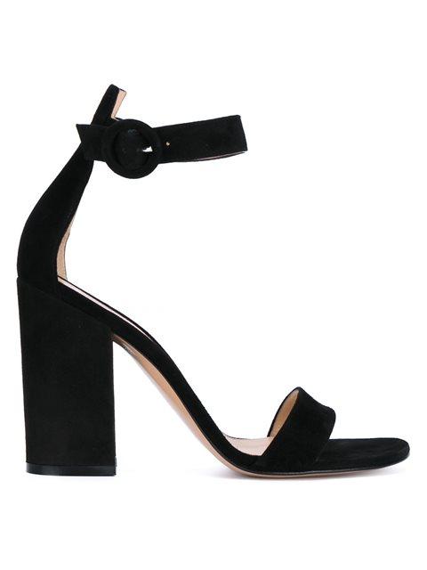 GIANVITO ROSSI Portofino 105 Block-Heel Suede Sandals in Black