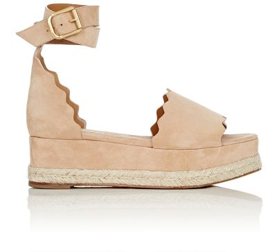 Scalloped Platform Espadrille Sandal, Reef Shell in Black