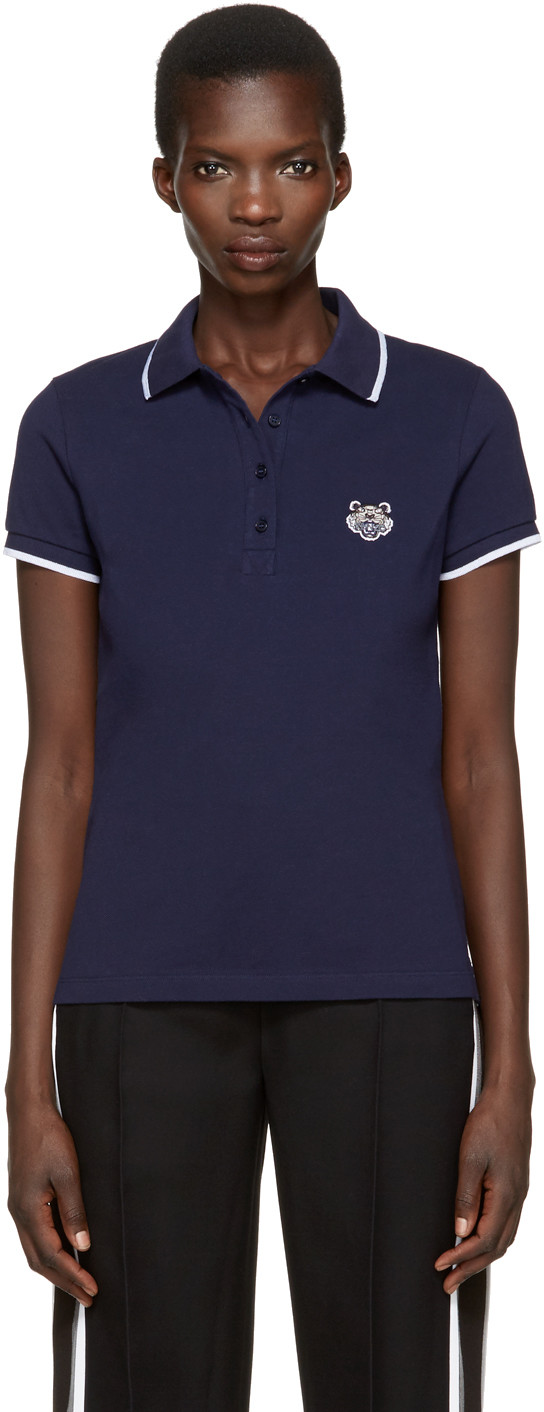 Navy Tiger Patch Polo in Blue