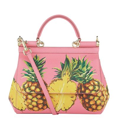 Dolce   Gabbana  Sicily  Mini Pineapple Print Dauphine Leather Satchel In  Pink Multi d755c7162e