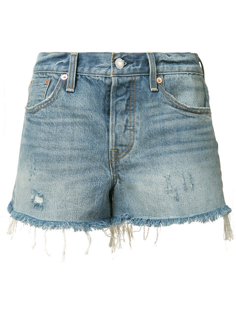 Levis Blue Distressed 501 Denim Shorts