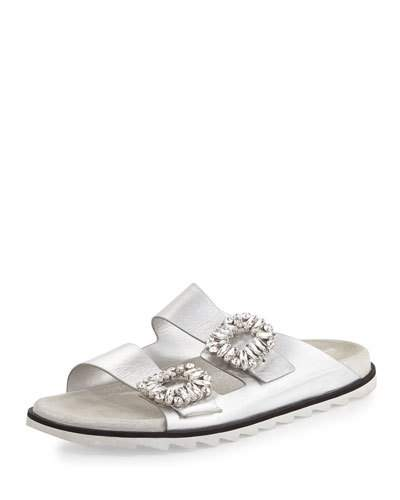Slidy Viv Crystal Buckle Lace-Embroidered Pvc Slides, Silver