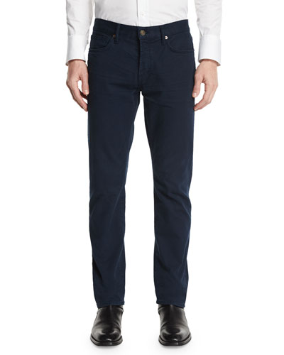 TOM FORD Straight-Fit Solid Wash Denim Jeans, Navy