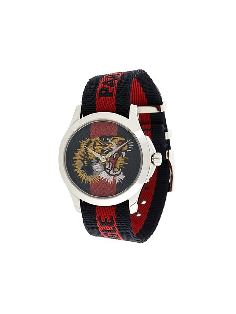 Watch Le MarchÉ Des Merveilles Watch 38Mm Case And Web Angry Cat Pattern, Blue And Red Web