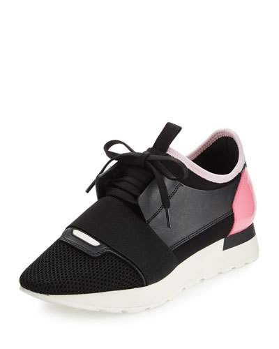 Race Runner Sneakers With Leather, Mesh And Suede in Black