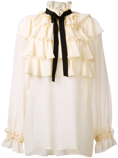 GUCCI Ruffled Silk Georgette Shirt With Bow in Ivory
