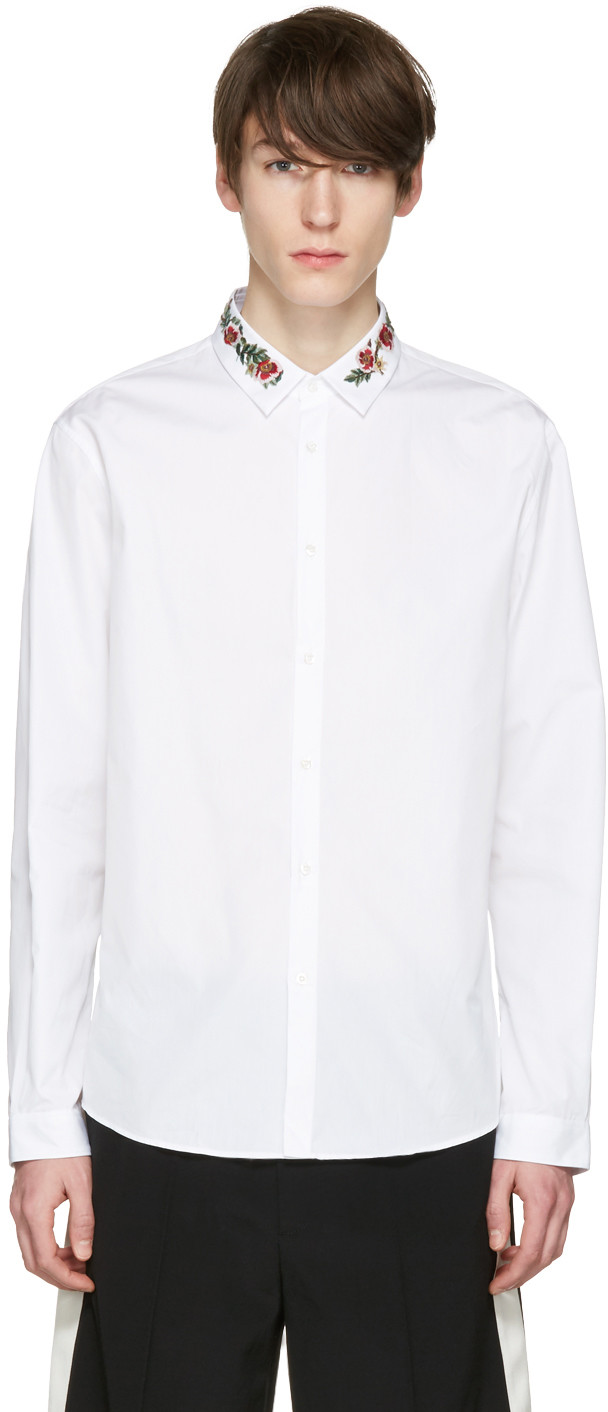 GUCCI Slim-Fit Floral-Embroidered Cotton-Poplin Shirt