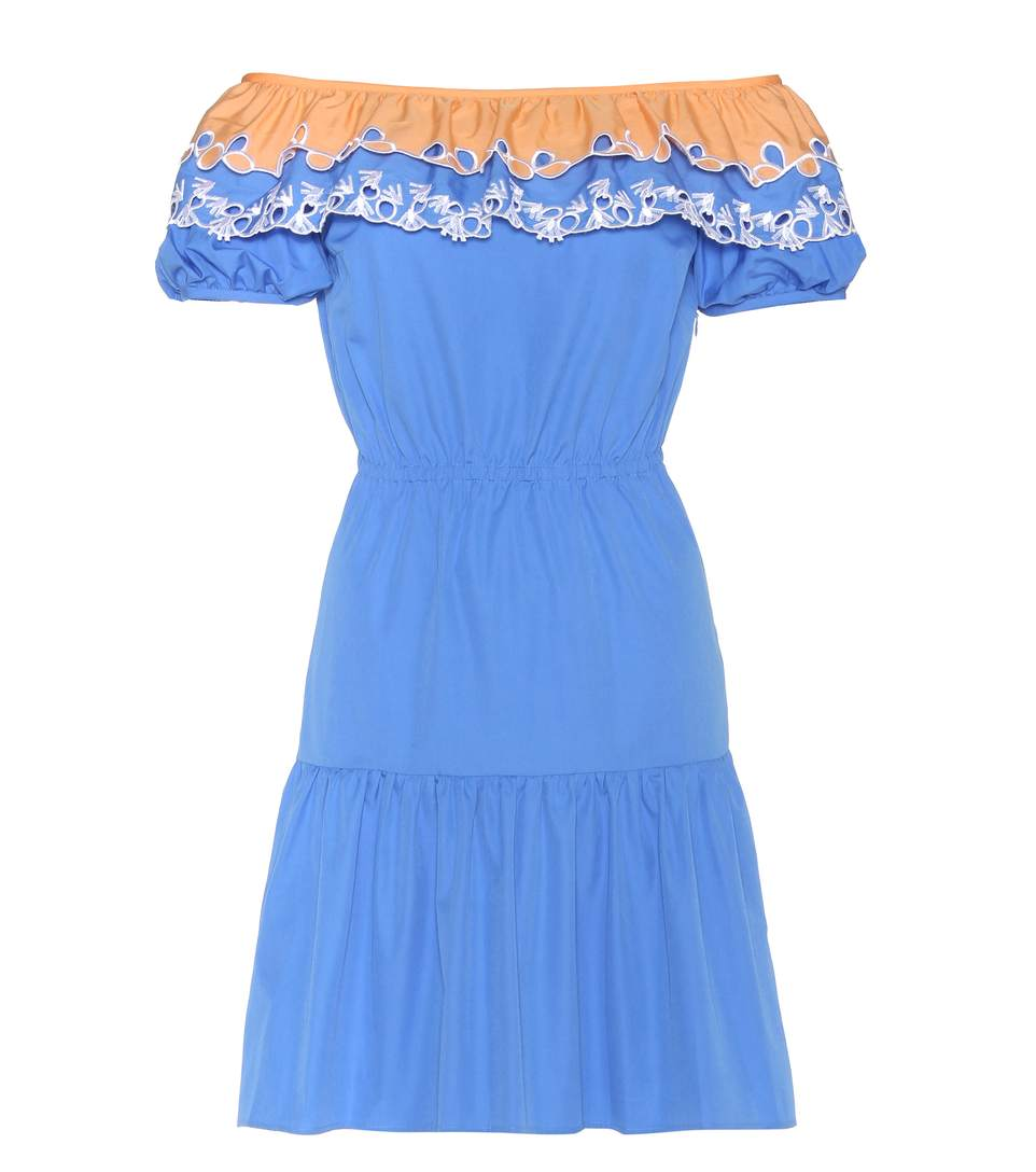 Peter Pilotto Woman Off-the-shoulder Broderie Anglaise-trimmed Cotton-poplin Dress Blue Size 10 Peter Pilotto tMycHV1