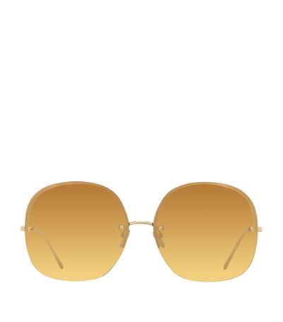 Rimless Oversized Square Sunglasses, Gold, Harrods