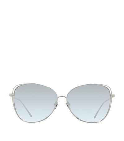 Open-Inset Mirrored Cat-Eye Sunglasses, White Gold, White/Gold