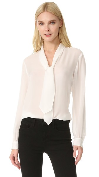 Giselle Tieneck Silk Blouse in Ivory