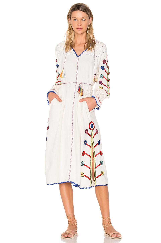 ULLA JOHNSON Natalia Crochet-Trimmed Embroidered Silk-Noil Midi Dress,  Natural