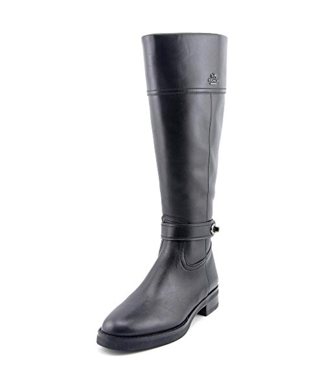 Coach Womens Eva Mat Calf Leather Almond Toe Knee High Riding Boots, Black