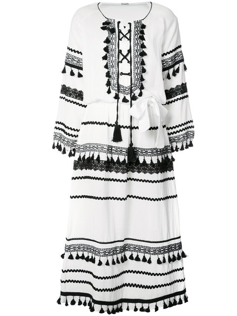 DODO BAR OR Tiered Pom Pom Maxi Dress in White & Black