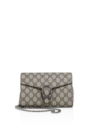 GUCCI DIONYSUS GG SUPREME CANVAS WALLET ON A CHAIN - BEIGE, NA