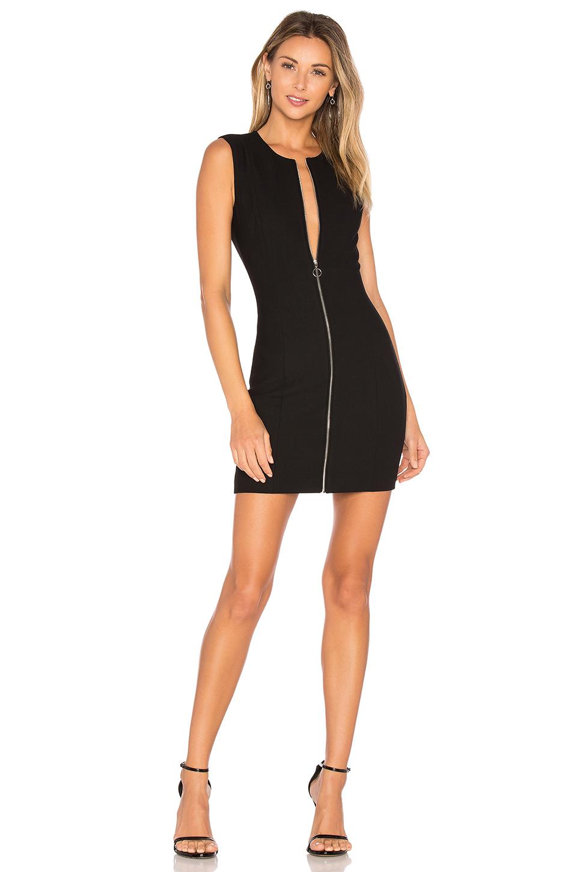 b9a40f40c0be Elizabeth And James Susannah Sleeveless Full-Zip Bodycon Mini Dress, Black