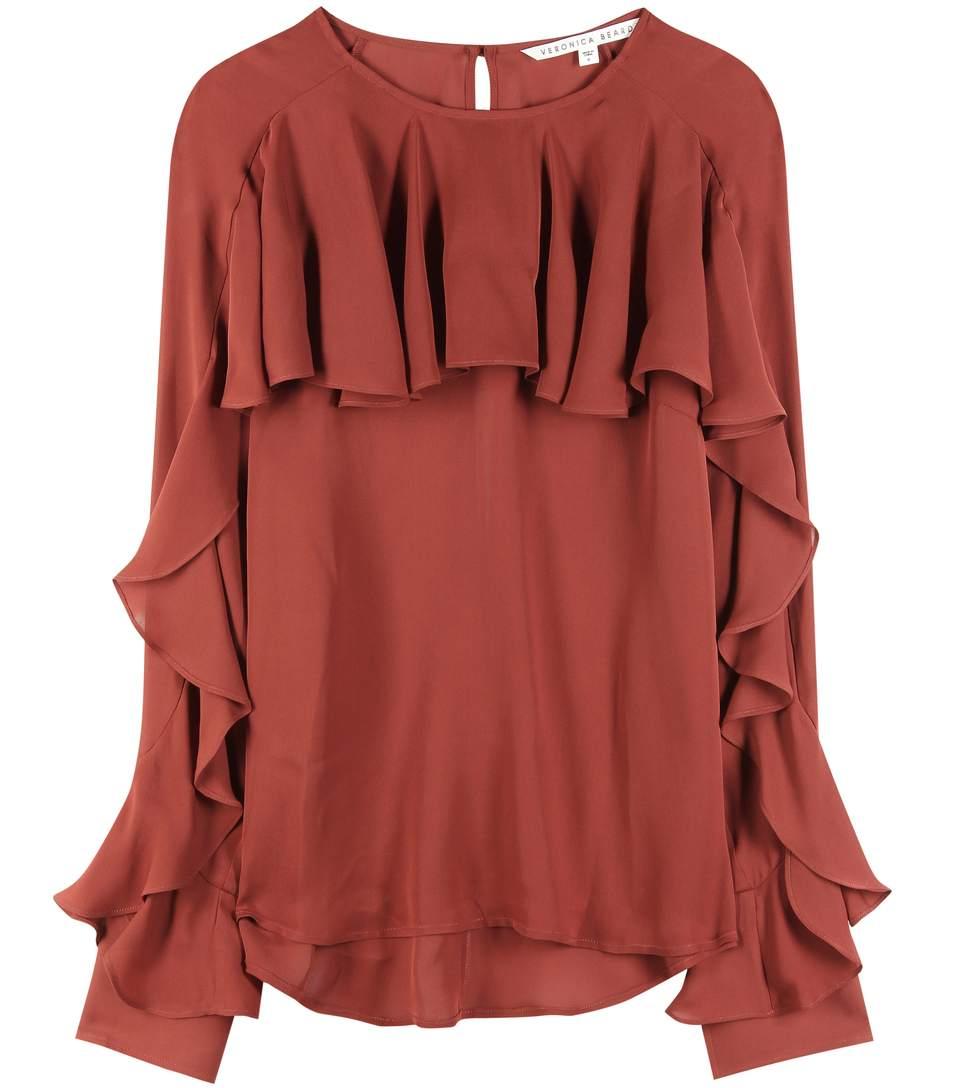 Outlet Free Shipping Professional  Veronica Beard Ruffle-Trimmed Silk Top Discount Pick A Best Great Deals Cheap Online LQJ2J07fR